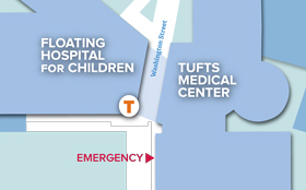 Map of Tufts Medical Center and Tufts Children's Hospital in downtown Boston.