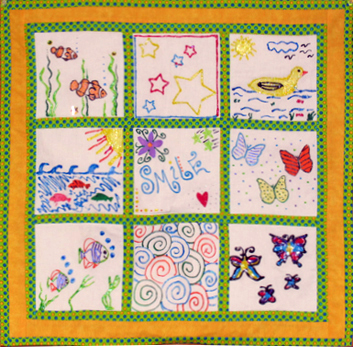 Quilt made for patients of the Kiwanis Pediatric Trauma Institute at Tufts Children's Hospital.