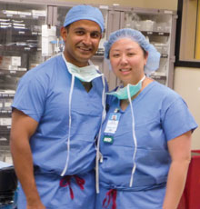 Married couple Dr. Chatterjee and Dr. Chen are both surgeons at Tufts Medical Center in Boston.