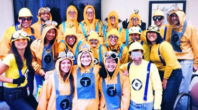 Pediatric Residents dress up as minions for Halloween at Floating Hospital for Children in Boston.